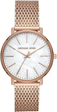 Michael Kors Women's Pyper Quartz Watch with Stainless Steel Strap Rose Gold 18 (Model: Breitling Watches Women, Mesh Bracelet, Bracelet Watch, Big Face Watches, Mesh Armband, Burberry Watch, Casual Watches, Beautiful Watches, Quartz Watch