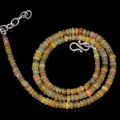 "49CRTS 3.5to4.5MM 18"" ETHIOPIAN OPAL RONDELLE BEAUTIFUL BEADS NECKLACE OBI1408 #OPALBEADSINDIA"