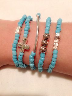 Light blue and silver beads