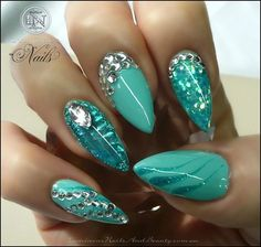 Green stiletto nails lush