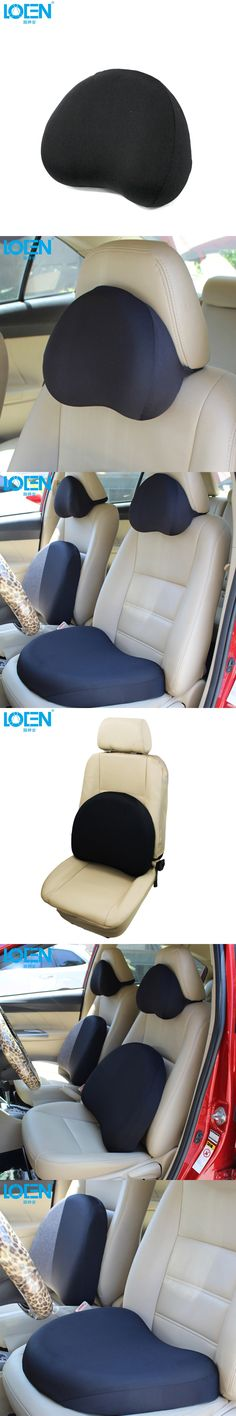 LOEN Car Seat supports neck  headrest Pillow black Freedom Car Seat Cushion Lumbar Waist Back Support Lumbar Pillow for Auto