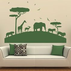 African Safari Wall Sticker Animal Wall Decal Art available in 5 Sizes and 25 Colours Large Leaf Green: Amazon.co.uk: DIY & Tools