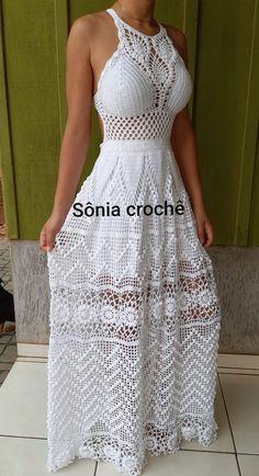 Crochet Wedding Dress Pattern, Crochet Wedding Dresses, Wedding Dress Patterns, Vintage Crochet, Crochet Lace, Crochet Bikini, Crochet Clothes, Diy Clothes, Mode Crochet