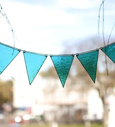 Sego Stained Glass Bunting Garland | Add a bit of color to a drab window or brighten up any wall in... | Stained Glass Panels