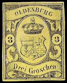 Old German States Oldenburg, Michel 8. 3 Gr. black on yellow clean unused, reverse above minimal rubbed spot, Michel 1. 300.-