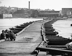 A Pontoon bridge near Petersburg, Virginia, in April of 1865.