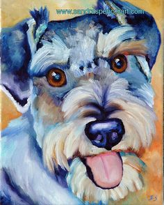 Original Schnauzer Painting 8x10 by mybunnies3 on Etsy, $45.00