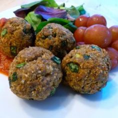 Gluten Free Dairy Free Baked Turkey Spinach Meatballs - I think mum pinned this.. No Turkey for us veggies lol :)