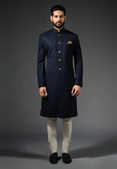 blue and gold sherwani , elegant sherwani , elgant bandhgala , high neck silk sherwani , minimalistic