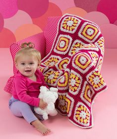 Bright Eyes Baby Blanket Free Crochet Pattern from Red Heart Yarns