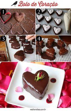bolinho de coração recheado de coco, receita sobremesa, bolo de chocolate, dia dos namorados, valentines day, love, cute dessert