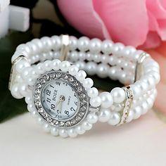 Mulheres Relógio de Moda Quartz Plastic Banda Pérolas Branco marca- de 1748433 2016 por R$13,49