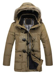 Stand Collar Solid Color Toggle Closure Men's Parkas
