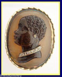 Georgian - Victorian Gold Hardstone Cameo Ring Carved Blackamoor