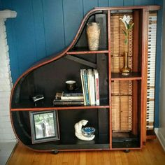 Repurposed piano to a bookshelf