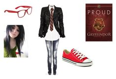 """""""Proud to be a Gryfindor"""" by kat-ever-after ❤ liked on Polyvore"""