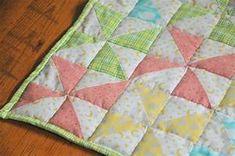 Striped Pinwheel Baby Quilt and Free Pattern | Kiku Corner