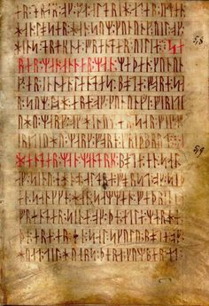Codex Runicus (c.1300 A.D.) a vellum manuscript containing one of the oldest and best preserved texts of the Scanian (Nordic) Law, written entirely in runes.
