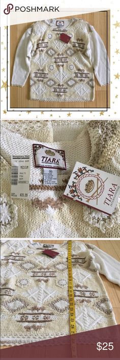 TIARA Sweater (HU23B4K) New with tag sweater but has  some yellow spots ( see pictures) offers welcome. No trade Tiara Sweaters Crew & Scoop Necks