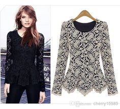 Wholesale Tank Top - Buy Elegant&Sexy Women Long Sleeve Lace Peplum Jumper Top Blouse, $12.44 | DHgate