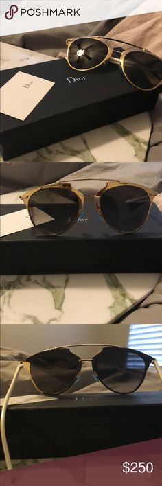 f4f89c32abe5 Dior Reflected Sunglasses Barely worn white and gold framed Christian Dior  Reflected sunglasses with a blue