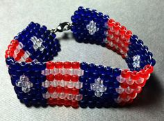 Stars and Stripes Beaded Cuff by SweptAshoreStudio on Etsy