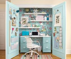 Pretty design elements paired with smart storage solutions make this small nook feel like a full-fledged room.   - CountryLiving.com