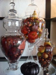 Filled apothecary jars to display in Kitchen or dining room hutches. Can fill with seasonal items