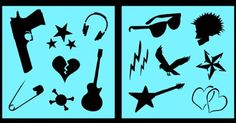 Buy Auto Vynamics - STENCIL-PUNKSET02-10 - Detailed Punk Rock Guitars & Hearts Stencil Set - Includes Guitars, Safety Pin, Sunglasses, & More! - 10-by-10-inch Sheet - (2) Piece Kit - Pair of Sheets in Cheap Price on m.alibaba.com