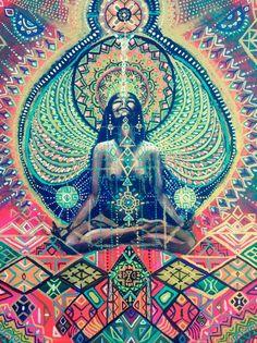 Highest High from deep inside Yoga Meditation visionary art Yoga Kunst, Art Visionnaire, Yoga Art, We Are The World, Visionary Art, Psychedelic Art, Tantra, Yoga Meditation, Sacred Geometry