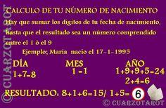 CALCULAR EL NÚMERO DE NACIMIENTO; Hay que sumar todos los dígitos de la fecha de nacimiento hasta quedarnos en un numero comprendido entre el 1 ó el 9.  Ejemplo: MARÍA NACIÓ EL 17-1-1995  DÍA                MES                        AÑO  1+7=8              1                   1+9+9+5= 24/ 2+4=6   8 + 1 + 6 = 24 / 2 + 4 = 6  6 ES EL NUMERO DE NACIMIENTO DE MARÍA   #FelizMartes #VidaSana #Moda #Suerte #deseos #destino #amuletos #talisman #numeros #numerología