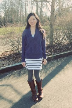 sweater over dress with tights + boots  Blue Paper Lanterns: The Barn