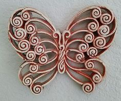 Vintage Upcycled Chalk Paint Burwood Products Company Butterfly Wall Hanger
