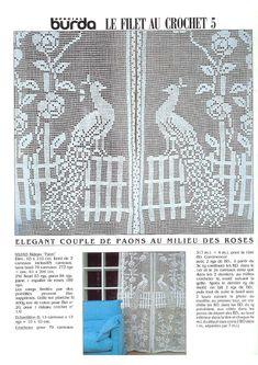 "Photo from album ""Burda special 1988 FRA - Filet au crochet on Yandex. Filet Crochet Charts, Crochet Doily Patterns, Crochet Doilies, Crochet Birds, Thread Crochet, Crochet Flowers, Crochet Curtains, Crochet Tablecloth, Crochet Decoration"