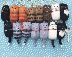 Cat – Fat Cat Hand Knitted Keychain, Keychain, Key Chain, Bag Charm, Cat Lover Gift – The Best Ideas Cat Gifts, Cat Lover Gifts, Cat Lovers, Knitting Accessories, Bag Accessories, Cat Keychain, Knitted Cat, Knitted Dolls, Original Design