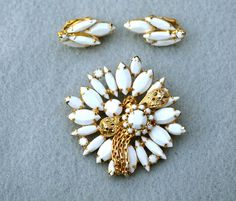Milk Glass Vintage Brooch and Earrings by HighClassHighway on Etsy, $35.00