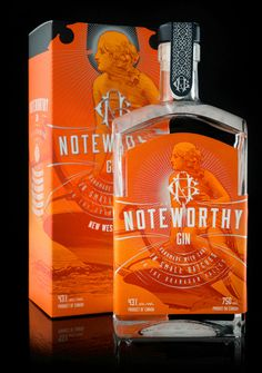 Noteworthy Gin is the first product from The Dubh Glas Distillery, a new distillery in BC's agriculturally-rich Okanagan Valley.The product name references the quality of the gin and the packaging features a custom illustration of Ceres, the Roman godde… Beverage Packaging, Bottle Packaging, Brand Packaging, Vodka, Tequila, Alcohol Bottles, Liquor Bottles, Le Gin, Gin Brands