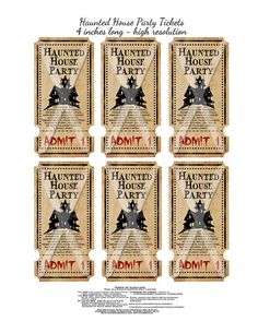 Halloween Haunted House Party Tickets Vintage by chocolaterabbit