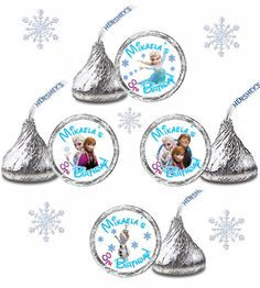 216 Personalized FROZEN Birthday Party FAVORS Candy Kiss Labels Stickers