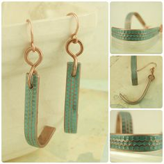 Copper Textured Earrings I - Aged Turquoise by favmoongirl, Leah Helmrich on Etsy
