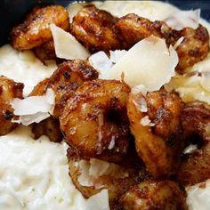 Blackened shrimp Alfredo over cauliflower rice : ketorecipes