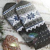 Варежки вязаные женские с орнаментом Звезда Рождества – купить или заказать в интернет-магазине на Ярмарке Мастеров | Эти вязаные женские варежки с орнаментом Звезда…