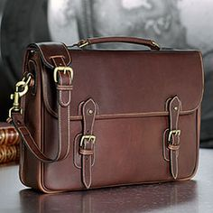 Tusting Messenger Brief: A men's leather briefcase and messenger bag from England.