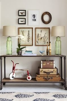Eclectic Hallway with West elm rocking birds, Butler mountain lodge console table, Concrete tile , Standard height, Paint