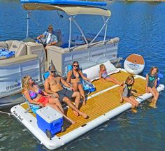 This Inflatable Patio Deck Lets You Bring Your Backyard Onto The Lake For The Ultimate Relaxation Lake Floats, Pool Floats, Giant Inflatable, Boat Stuff, Lake Cabins, Water Toys, Backyard, Patio, Boat Dock