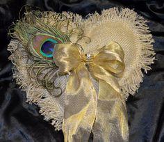 Country Chic Heart Burlap Ring Bearer Pillows by paulasbartlion Wedding Themes, Wedding Photos, Wedding Ideas, Wedding Decor, Feather Boutonniere, Cowgirl Wedding, Ring Bearer Pillows, Fabric Hearts, Burlap