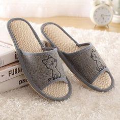 a74f09b05 Men Home Slippers Women Summer House Slippers Linen Indoor Sandal Non-Slip  Couple Floor Slippers