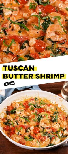 This creamy Tuscan Butter Shrimp could be yours in just 20 minutes. Get the recipe at Delish.com. #recipe #easyrecipe #shrimp #seafood #italianfood #spinach #tomatoes #parmesan #cheese #butter #cream #lemon #dinner #easydinner #dinnerrecipes #seafoodrecipes