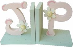 Pink & Green Initial Bookends | Jack and Jill Boutique