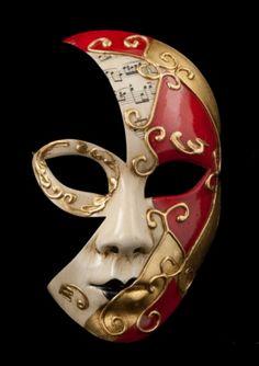 MASQUE DE VENISE LUNA AGUA MUSICA ROUGE ET DORE 1852 V56